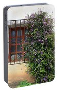 Mission Window With Purple Flowers Portable Battery Charger
