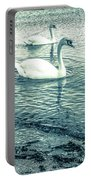 Misty Blue Swans Portable Battery Charger