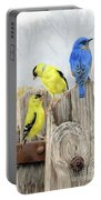 Misty Morning Meadow- Goldfinches And Bluebird Portable Battery Charger