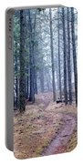 Misty Morning Trail In The Woods Portable Battery Charger