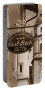 Mittenwald Cafe Sign In Sepia Portable Battery Charger