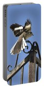 Mockingbird Landing On Fence Portable Battery Charger