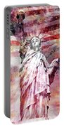 Modern-art Statue Of Liberty - Red Portable Battery Charger