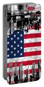 Modern City Scape American Flag Portable Battery Charger