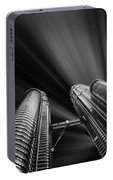 Modern Skyscraper Black And White Picture Portable Battery Charger by Stefano Senise