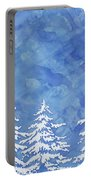 Modern Watercolor Winter Abstract - Snowy Trees Portable Battery Charger