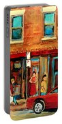 Moishes Steakhouse On The Main By Montreal Streetscene Painter Carole  Spandau  Portable Battery Charger