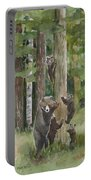 Momma With 4 Bear Cubs Portable Battery Charger