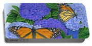 Monarch Butterflies And Hydrangeas Portable Battery Charger
