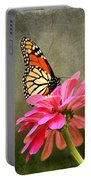 Monarch Butterfly And Pink Zinnia Portable Battery Charger