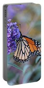 Monarch Butterfly And Purple Flowers Portable Battery Charger