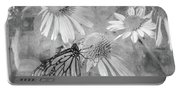 Monarch Butterfly In Black And White Portable Battery Charger