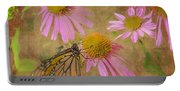 Monarch Butterfly In Pink Portable Battery Charger