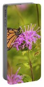 Monarch Butterfly On Bee Balm Flower Portable Battery Charger