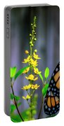 Monarch Butterfly Poised On Green Stem Among Yellow Flowers Portable Battery Charger