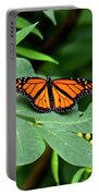 Monarch Butterfly Resting On Cassia Tree Leaf Portable Battery Charger