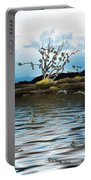 Money Tree On A Windy Day Portable Battery Charger