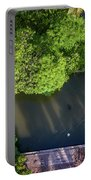 Monk Rowing Boat Along Floating Market Aerial View Portable Battery Charger by Pradeep Raja PRINTS