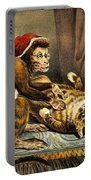 Monkey Physician Examining Cat For Fleas Portable Battery Charger
