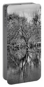Monochrome Autumn Reflections Portable Battery Charger