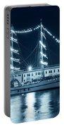 Monochrome Blue Boston Tall Ships At Night Boston Ma Portable Battery Charger