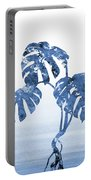 Monstera Leaf-blue Portable Battery Charger