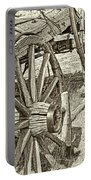 Montana Old Wagon Wheels In Sepia Portable Battery Charger