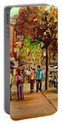 Montreal Downtown  Crescent Street Couples Walking Near Cafes And Rstaurants City Scenes Art    Portable Battery Charger