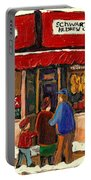 Montreal Hebrew Delicatessen Schwartzs By Montreal Streetscene Artist Carole Spandau Portable Battery Charger