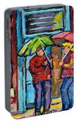 Montreal Rainy Day Paintings April Showers Umbrella Conversation At Wilensky's Deli C Spandau Quebec Portable Battery Charger