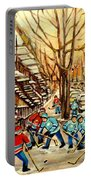 Montreal Street Hockey Paintings Portable Battery Charger