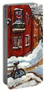 Montreal Street In Winter La Ville En Hiver Buy Montreal Paintings Petits Formats Peintures A Vendre Portable Battery Charger