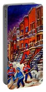 Montreal Street Scene Paintings Hockey On De Bullion Street   Portable Battery Charger