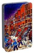 Montreal Street Scene Paintings Hockey On De Bullion Street   Portable Battery Charger