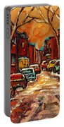 Montreal Streets In Winter Portable Battery Charger
