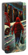 Montreal Streets Winter Morning Portable Battery Charger