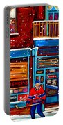 Montreal Wilensky Deli By Carole Spandau Montreal Streetscene And Hockey Artist Portable Battery Charger