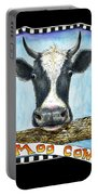 Moo Cow In Black Portable Battery Charger
