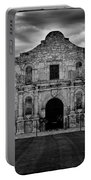 Moody Morning At The Alamo Bw Portable Battery Charger