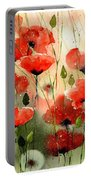 Moody Poppies In The Afternoon Portable Battery Charger