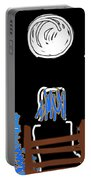 Moon And Beach Watcher On Martha's Vineyard Portable Battery Charger