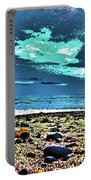 Moon Lit Beach, Bray, Wicklow, Ireland, Poster Effect1b Portable Battery Charger