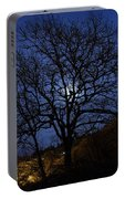 Moon Rise Behind Tree Silhouette At Night Portable Battery Charger
