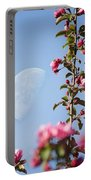 Moon Through The Crabapple Blossoms Portable Battery Charger