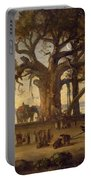Moonlit Scene Of Indian Figures And Elephants Among Banyan Trees Portable Battery Charger