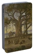 Moonlit Scene Of Indian Figures And Elephants Among Banyan Trees. Upper India Portable Battery Charger
