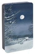 Moonlit Snowy Scene On The Farm Portable Battery Charger
