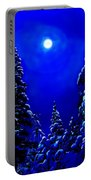 Moonshine On Snowy Pine Portable Battery Charger