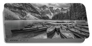 Moraine Lake In Black And White Portable Battery Charger