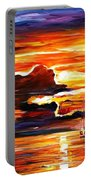 Morning After The Storm - Palette Knife Oil Painting On Canvas By Leonid Afremov Portable Battery Charger